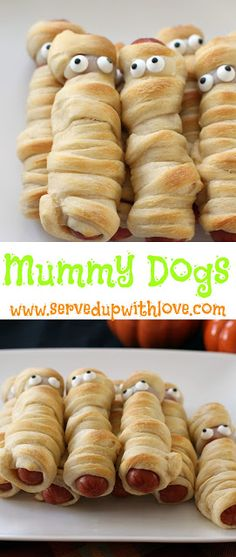 Mummy Dogs recipe from Served Up With Love. A fun Halloween twist on Pig in a Blanket.