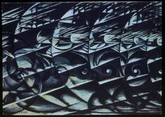 Giacomo Balla, Velocita d'automobile, 1913 Giacomo Balla, Italian Futurism, Automobile, Graphic Art, City Photo, Abstract Art, Artist, Nature, Pictures