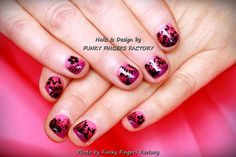 Gelish Purple and Pink Tropical nails by FUNKY FINGERS FACTORY