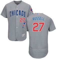 Men's Chicago Cubs Addison Russell Majestic alternate gray blue Flex Base jersey