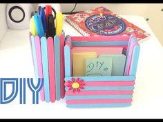 DIY | Porta Caneta + Porta Recado com Palito de Picolé.  Palito de sorvete / Porta lápis / Faça você mesma
