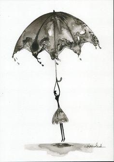 Zestaw 2 grafik ręcznie malowany obraz kobieta z parasolem | Etsy Rain Street, Vintage Umbrella, Etsy, Abstract, Drawings, Illustration, Pictures, Painting, Art