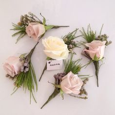 Dusky pink menta rose and brunia berry buttonholes. Surrey wedding flowers by Boutique Blooms floral design. Small Wedding Bouquets, Peony Bouquet Wedding, Dusty Rose Wedding, Winter Wedding Flowers, Corsage Wedding, Bridal Flowers, Pink Flowers, Buttonhole Flowers, Buttonholes Wedding Pink