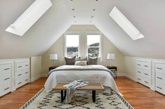 Gallery sharing creative attic bedroom ideas with large & small design styles, skylights, slanted walls, decor and furniture. See pictures of attic bedroom designs for inspiration. Attic Bedroom Ideas Angled Ceilings, Small Loft Bedroom, Attic Bedroom Storage, Attic Bedroom Small, Attic Bedroom Designs, Loft Room, Attic Spaces, Attic Playroom, Angled Bedroom