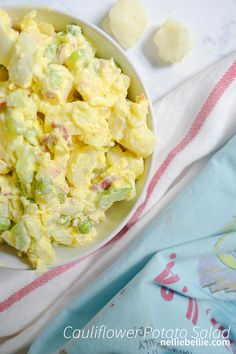 Substitute cauliflower for potatoes in your favorite potato salad! This cauliflower potato salad recipe if a great use of our favorite veggie!