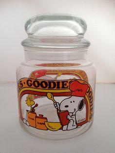 Vintage Snoopy and Woodstock Goodies Jar