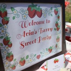 Strawberry birthday welcome sign by paperglitter