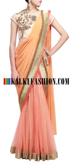 Buy Online from the link below. We ship worldwide (Free Shipping over US$100) http://www.kalkifashion.com/pre-stitched-saree-gown-featuring-in-peach-only-on-kalki.html Pre stitched saree gown featuring in peach only on Kalki