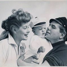 Lucille Ball and Desi Arnaz with daughter Lucie