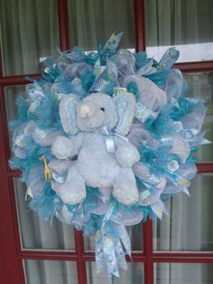 Baby Blue Boy Deco Mesh Baby Shower Girl Wreath by CrazyboutDeco, $79.00