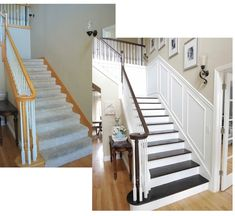 Never discount the hidden potential in your house! Paint & trim goes a long way - love the addition of trim to the stairwell This could work in our house, our stairs look just like this. Style At Home, Home Staging, Home Renovation, Home Remodeling, Sweet Home, Casa Clean, Painting Trim, House Painting, My New Room