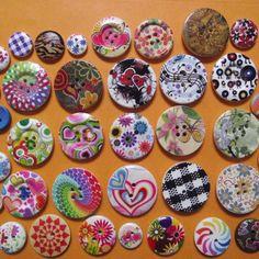 Cute floral 15mm boutons en bois artisanat art robe couture vêtement fait de 100