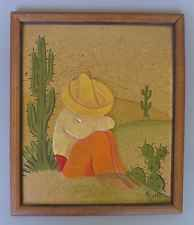 Vintage Early California Monterey Mexican 1940 painted 3-D wood plaque by RUELLE
