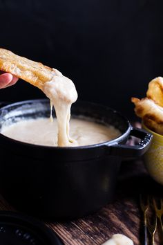 Smoky Three-Cheese Fondue #recipe and pair it with wine = #bacherolette viewing party success