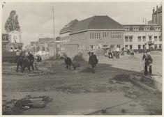 Haarlem 1956 Zijlsingel.  Wegwerkzaamheden op en bij de Raaksbrug, ziende naar het westen.