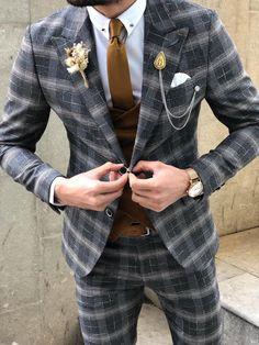 Available Size: Suit Material: viscose, polyester, elestan Machine Washable: No Fitting: Slim-Fit Cutting: Double Slits, Double Button Package Include: Suit Clothes: Jacket and Pants Slim Fit Tuxedo, Tuxedo Suit, Plaid Suit, Suit Vest, Mens Fashion Suits, Mens Suits, Men's Fashion, Designer Suits For Men, Glen Plaid