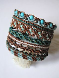 8 in 1 Macrame Wristband Brown and Turquoise by PapachoCreations