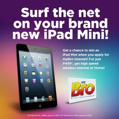 Apply for plan 999 at w/ high speed wireless internet of up to can help you win an iPad mini! New Ipad, High Speed, Ipad Mini, Surfing, How To Apply, Internet, How To Plan, Surf, Surfs Up