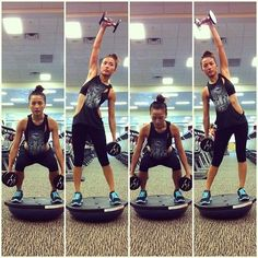 A bosu ball can turn a regular arm workout into a full body workout.