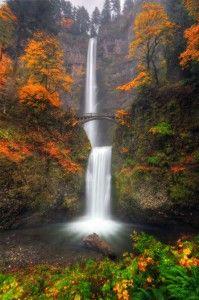 Multnomah Falls with autumn colors, Columbia River Gorge, Oregon