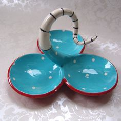 Dr Seuss Ceramic serving dish with whimsical turquoise by maryjudy