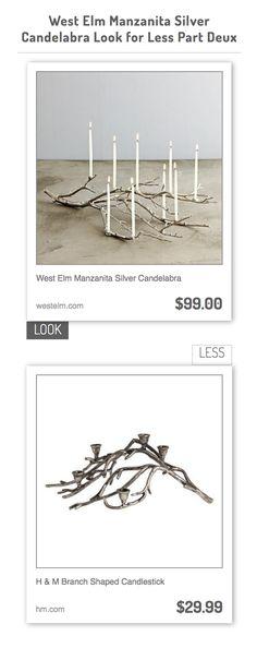 West Elm Manzanita Silver Candelabra vs H & M Branch Shaped Candlestick
