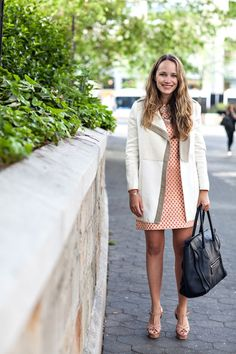 J.Crew Dress (sold out online but love this + this) // Zara Coat  BaubleBar + Lulu Frost Necklaces // YSL Heels // Celine Bag