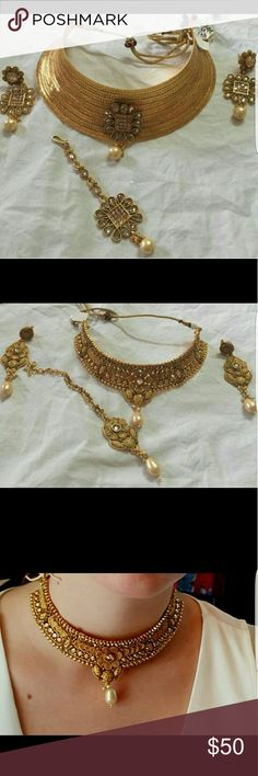 GOLD PLATED CHOKER SETS beautiful sets with earings n maang tika Jewelry Necklaces