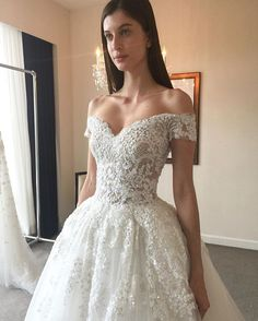 """Coming soon! Opulent princess style """"Vega"""" off shoulder embroidered lace tulle ballgown featuring sheer floral detailed back from Zuhair Murad Fall 2017 Wedding Collection! @zuhairmuradofficial #zuhairmurad #zuhairmuradbridal #couture #newcollection #fall2017 #vega #offshoulder #ballgown #embroidery #beaded #wedding #weddinggown #weddingdress #weddingshow #weddinginspiration #bridal #bride #bridetobe #bridalgown #bridaldress #bridalfashion #bridaltrends #bridaldesigner #nybfw #belleandtulle…"""