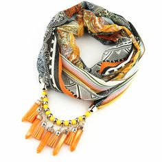 Women Scarf Jewelry Shawls and Scarves Tassels Scarf Necklace Clothing Accessories Scarves Patchwork Pendant 170*47cm