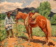 Taos Indian in a Pea Field painting by Walter Ufer at Taos Art Museum. Taos, NM.