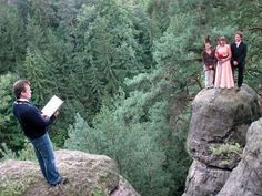 For years, the gorge kept their love apart...  Now it only kept them away from hearing the preacher.