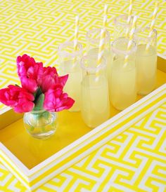 A preppy mod baby shower in a sunny color palette of yellow, white and hot pink, featuring a Greek key pattern. Party goods and styling by WH Hostess. Summer Of Love, Summer Fun, Summer Time, Yellow Tablecloth, Summer Bash, Pink Lemonade, Spiked Lemonade, Mellow Yellow, Bright Yellow