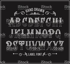 Hand drawn label font for design in vintage style. Vector typeface for labels an. Lettering Fonts Design, Tattoo Lettering Styles, Chicano Lettering, Hand Lettering Alphabet, Chalk Lettering, Graffiti Lettering, Lettering Tutorial, Vintage Lettering, Typography Letters