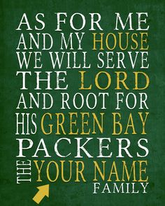 "Green Bay Packers football inspired Personalized Customized Art Print- ""As for Me"" Parody- Unframed Print"