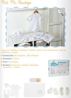 Kit Mi Bautizo/ 1 cobertor, 1 pañalero, 1 babero, 1 gorro, 1 par de manoplas, 1 par de calcetines, 1 toalla/ 3 a 6 meses