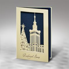 The Christmas card is made of high quality pearl ecru paper. The pearl ecru cover has laser cut in a design of the Place of Culture & Science with a Christmas tree beside. The insert is metallic dark blue. The envelope is included.