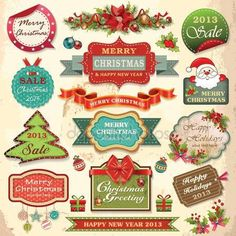 stockphoto8.com Royalty-free stock photos, images, illustrations, vectors - Collection of christmas ornaments and decorative elements, vintage frames, labels, stickers and ribbons stock images and illustrations