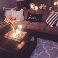 Pillow colors with dark couch