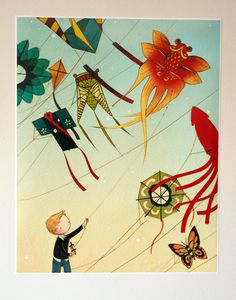 Kite Boy 16x20 Lustre Color Print.  via Etsy.