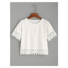 White Crochet Trim Crop T-shirt (535 INR) via Polyvore featuring tops, t-shirts, crop top, white t shirt, white tee, white crop top and white top