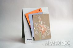 hand crafted card ... kraft panel with white embossed botanical lily ... touch or orange ... luv that focal point ...