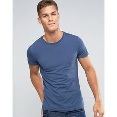 Tommy Hilfiger T-Shirt with Flag Logo In Slim Stretch Blue (380 DKK) ❤ liked on Polyvore featuring men's fashion, men's clothing, men's shirts, men's t-shirts, blue, tommy hilfiger mens shirts, mens slim fit short sleeve shirts, mens blue shirt, mens jersey shirts and mens blue t shirt