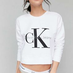 Calvin Klein Cropped Pullover Sweatshirt - Urban Outfitters