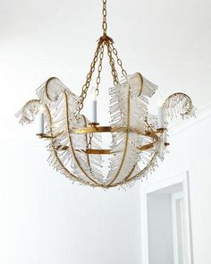 Feather Chandelier by Visual Comfort at Horchow. Gold Chandelier, Chandelier Lighting, Chandeliers, Art Deco Chandelier, Ceiling Canopy, Ceiling Lamp, Ceiling Lights, Home Lighting, Lighting Design