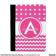 Pink Polka Dot Chevron Monogram Personalized Padfolio
