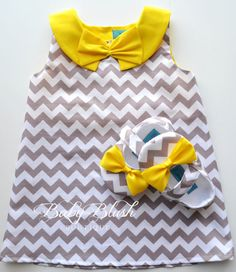 Grey+Chevron+Retro+A-line+Dress+Yellow+Collar+by+babyblushboutique