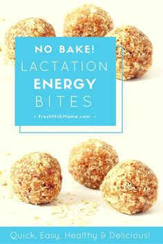 No bake lactation energy bites. These energy balls are perfect for breastfeeding and nursing moms to maintain and boost milk supply. They include galactagogues like oats and brewer's yeast. From Fresh (Baking Tools For Kids) Energy Snacks, Energy Bites, Food For Breastfeeding Moms, Lactation Recipes, Lactation Foods, Lactation Cookies, Brewers Yeast, Fresh Milk, Homemade Baby Foods