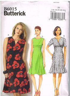 Butterick B6015, Misses' Dress, Size 16, 18, 20, 22, 24, Plus Size, sewing Pattern by OhSewWorthIt on Etsy