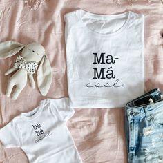 Pack Mamá COOL Baby Shirts, Mom Shirts, Kids Shirts, T Shirts For Women, New T Shirt Design, Shirt Print Design, Shirt Designs, Mommy And Me Outfits, Kids Outfits